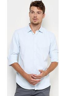 Camisa Broken Rules Social Texturizada Masculino - Masculino-Azul Claro
