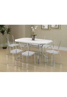 Mesa 1507 Branca Cromada Com 6 Cadeiras 1700 Fantasia Branco Carraro