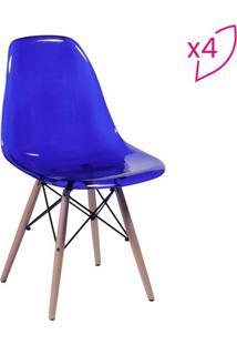 Jogo De Cadeiras Eames Dkr- Azul & Madeira- 4Pã§Sor Design
