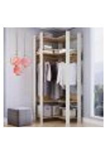 Closet Aberto Canto Com Prateleiras E Cabide Off White Com Itapuã Lilies Móveis