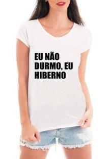 Camiseta Criativa Urbana Eu Hiberno Feminina - Feminino-Branco