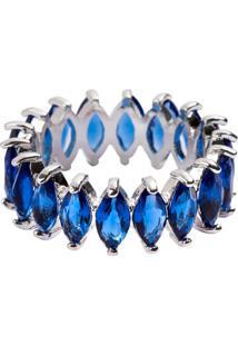 Anel Aliança Navetes The Ring Boutique Pedras Cristais Azul Safira Ródio Ouro Branco