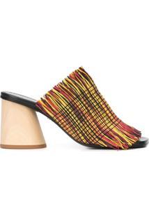 Proenza Schouler Sandália Com Franjas E Salto Bloco - Estampado