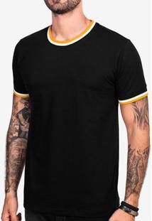 Camiseta Preta Gola Listrada 103303