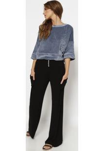 Blusa Lisa Em Plush- Azul Escuro- Vixvix