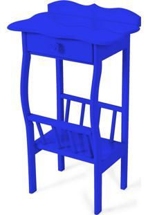 Mesa Lateral Apoio Sala Revisteiro Azul Royal