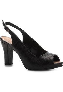 Peep Toe Shoestock Meia Pata Croco Feminina - Feminino-Preto