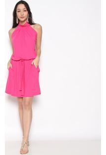 Vestido Com Bolsos & Amarração- Pink- Vittrivittri
