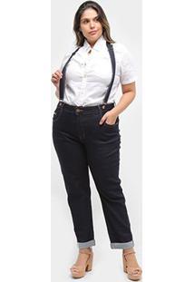 Calça Jeans Cropped Xtra Charmy Plus Size Com Suspensório Feminina - Feminino-Azul