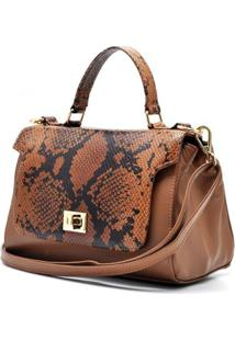 Bolsa Couro Hendy Bag Cobra Caramelo Com Repartição - Feminino-Caramelo+Off White