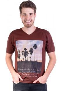 Camiseta Gola V Summer Marrom