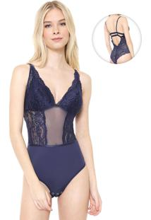 Body Calvin Klein Underwear Renda Azul-Marinho