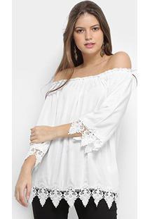 Blusa Queen'S Ombro A Ombro Renda Feminina - Feminino-Branco