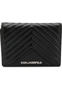 Karl Lagerfeld Carteira Matelassê 'K/Klassik' De Couro - Preto