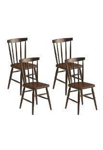 Cadeira Údine C/ 4 Unidades 100 Madeira Maciça Castanho/Imbuia Acetinado - Piratini