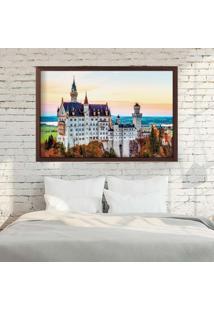 Quadro Love Decor Com Moldura Castelo Europeu Madeira Escura Médio