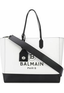 Balmain Bolsa Tote Com Logo - Branco