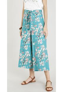 Calça Pantacourt Feminina Estampada Floral Com Linho E Faixa Para Amarrar Verde