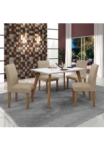 Conjunto De Mesa De Jantar Lavinia Com 4 Cadeiras Olimpia Iii Linho Imbuia Mel Branco