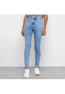 Calça Jeans Skinny Lança Perfume Estonada Cintura Média Feminina - Feminino