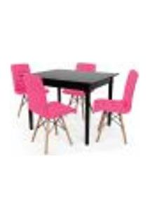 Conjunto Mesa De Jantar Robust 110X90 Preta Com 4 Cadeiras Eiffel Gomos - Rosa