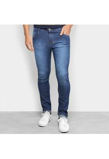 Calça Jeans Skinny Bnb Estonada Cintura Média Masculina - Masculino-Azul