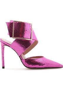 Scarpin Maxi Buckle Metallic Snake Purple | Schutz