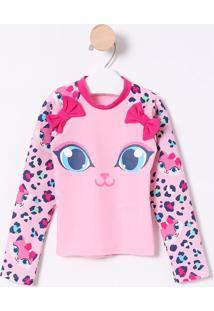 Camiseta Gatinho Com Fps 50+- Rosa & Azul- Puketpuket