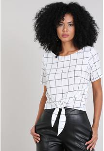 Blusa Feminina Estampada Quadriculada Com Nó Manga Curta Off White