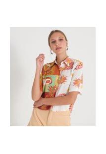 Camisa Manga Curta Estampa Frutas | Blue Steel | Branco | Pp