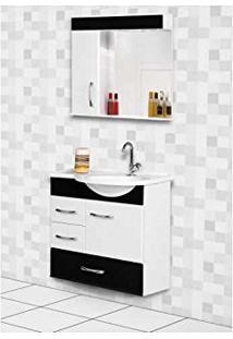 Armario Banheiro Rorato Kit 60Cm Viena Preto C/E