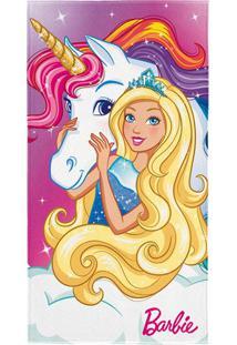 Toalha De Praia Barbie Reinos Mágicos Branca E Rosa Lepper