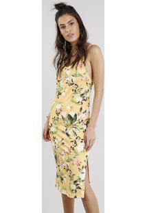 Vestido Midi Feminino Estampado Floral Amarelo