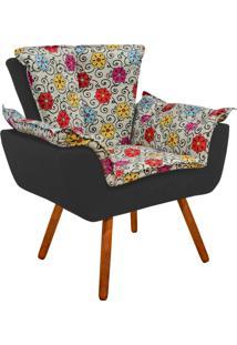 Poltrona Decorativa Opala Suede Composê Estampado Floral Color D17 E Suede Grafite - D'Rossi