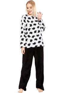 Pijama Any Any Soft Cat Branco/Preto