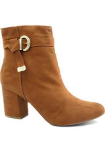 Bota Cano Curto Zariff Shoes Ankle Boot Fivela Feminina - Feminino-Marrom