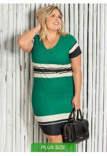 Vestido Plus Size Curto Com Decote V Verde