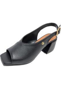 Sandália Retrô Cia Do Porto Chanel Feminina - Feminino-Preto