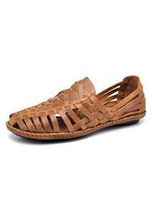 Sandalia Sapatilha Couro Percurso Comfort Tiras Costura Artesanal