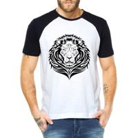 Camiseta Criativa Urbana Leão Tribal - Masculino-Branco 0f6a83cf3ea3e