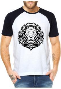 Camiseta Criativa Urbana Leão Tribal - Masculino-Branco