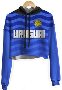 Blusa Cropped Moletom Feminina Over Fame Uruguai Md01 - Azul - Feminino - Poliã©Ster - Dafiti