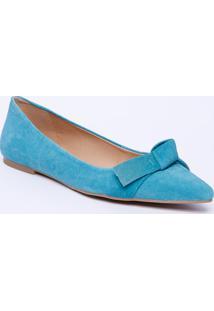 Sapatilha Em Couro Com Laço - Azul Claroluiza Barcelos