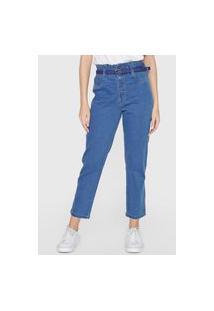 Calça Jeans Sawary Slim Botões Azul