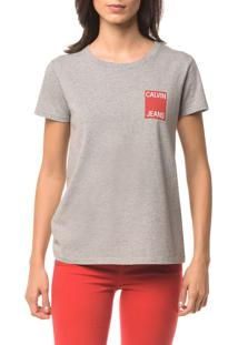 Blusa Ckj Fem Logo Calvin Jeans - Mescla - M
