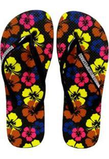 afe5bd06a571a7 Chinelo Feminino Floral Textura Preto Micro Feminino-Preto - Bora