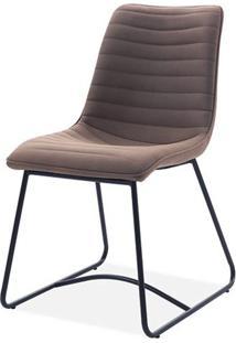 Cadeira Beatriz Tecido Vintage Marrom Base Preta - 59490 - Sun House