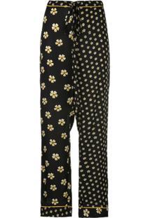Oscar De La Renta Calça De Pijama Com Estampa Floral - Preto