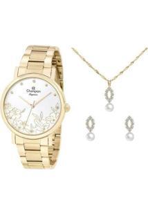 Kit Relógio Feminino Champion Analógico Elegance - Cn25887W Com Acessórios - Feminino-Dourado