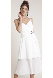 Vestido Feminino Água De Coco Midi Em Camadas Com Cinto Alças Finas Off White